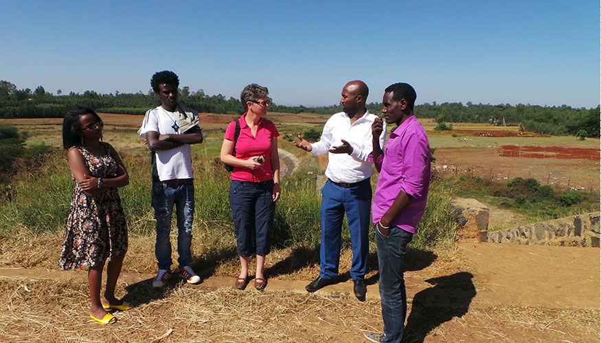 People talking during a field visit to a waste water treatment plant in Mekelle, Ethiopia.