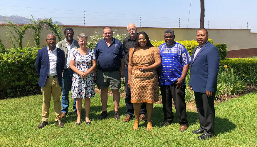 The Dutch Water Authorities team and their eSwatini Blue Deal-partners posing for a group picture.