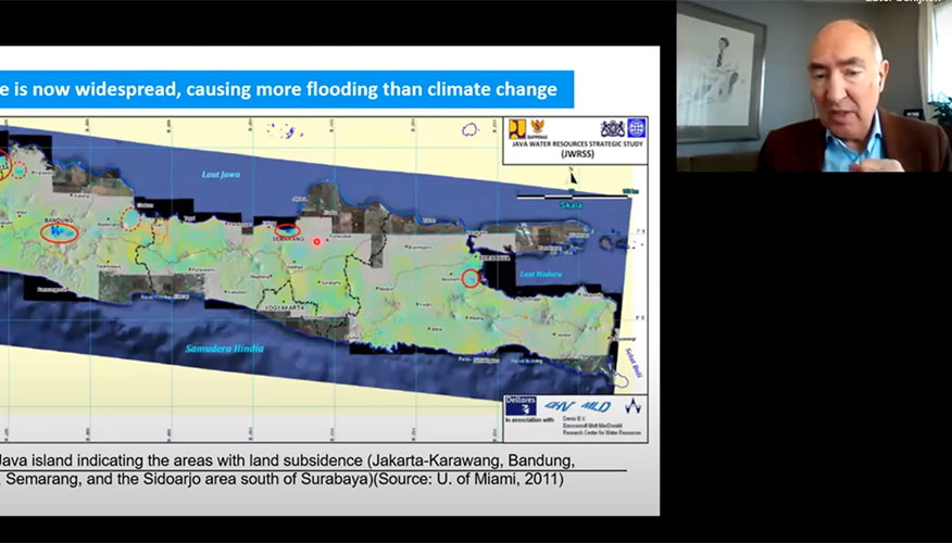 Video still of lecture by professor Guy Alaerts about solutions for complex water problems