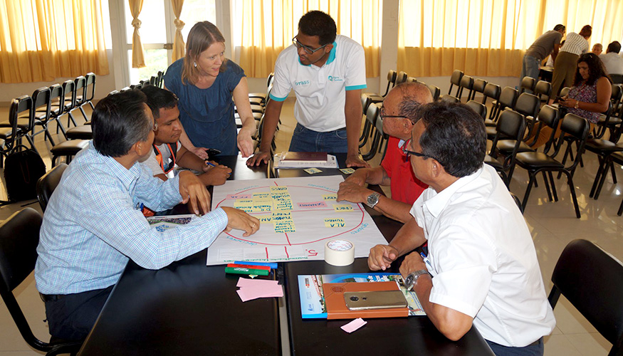 People gathered around a table during a stakeholder mapping session with Dutch Water Authorities partners in Peru.