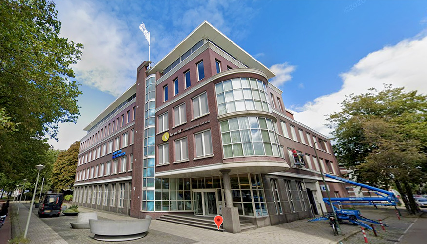 Front view of the Dutch Water Authorities head office and point of contact for visitors in The Hague, the Netherlands.