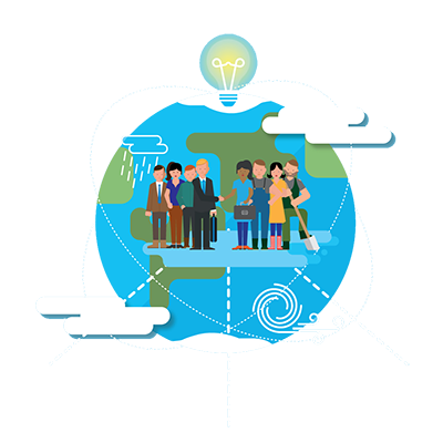 Illustration of globe with group of people standing in front of it. Over the globe is a lightbulb.